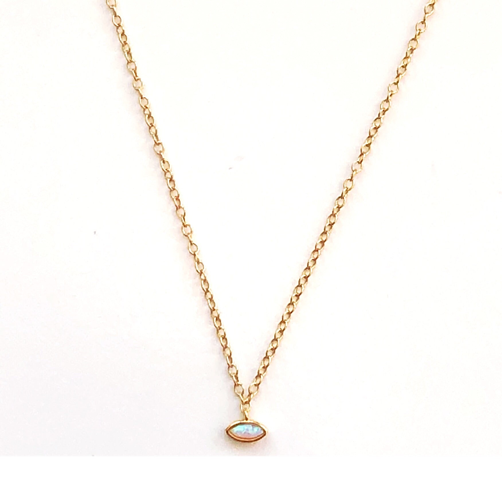 Isabella Mini Ellipse Shaped Opal Pendant (Gold Filled)