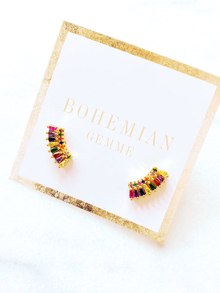 Rachel Colorful CZ Ear Crawlers