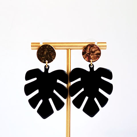 Anastasia Black Monstera Statement Earrings