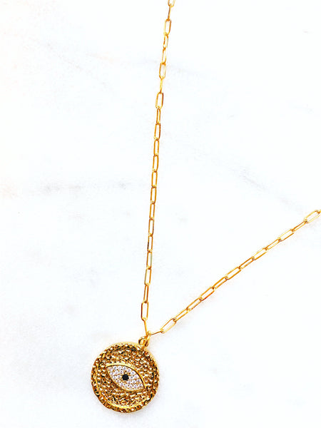 Iris Gold Filled Eye Coin Necklace