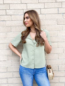 Rylie Sage Scalloped Sleeve Top