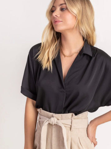 Jenny V Neck Satin Top