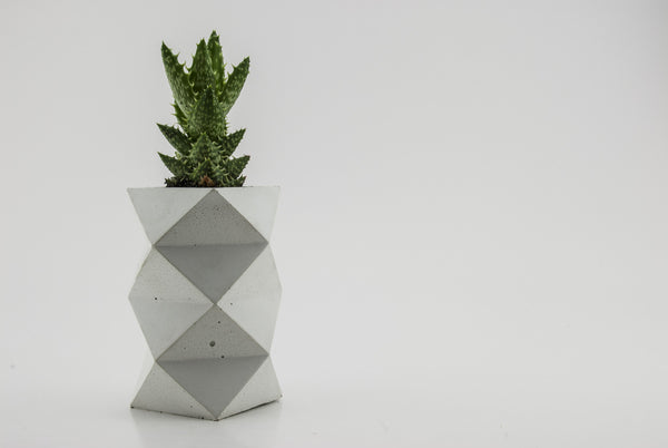 White Double Tier Geometric Planter - Conform Studios