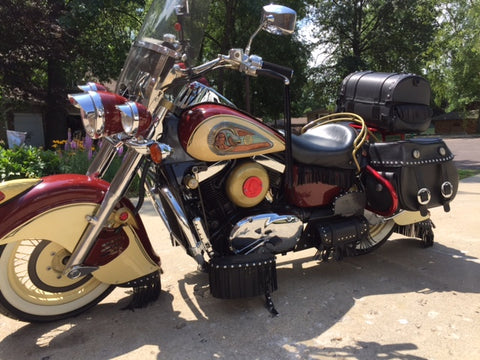 Zambini Bros Red Hawk III Indian Motorcycle and Copper Emblem