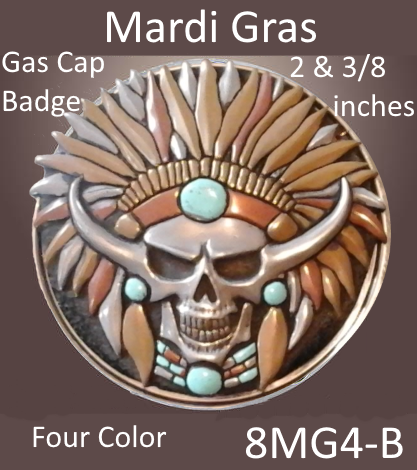 Gas Cap Badge Insert Mardi Gras Skull Emblem - Indian Motorcycle Accessory