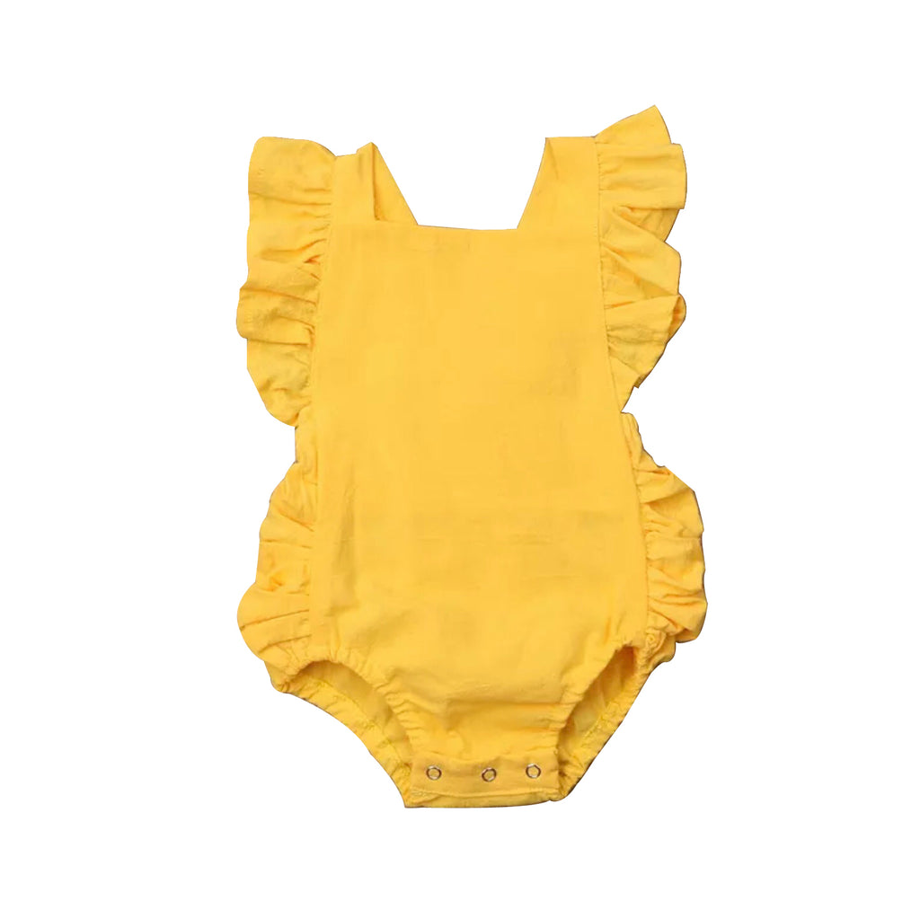 Boho cotton rompers - mustard