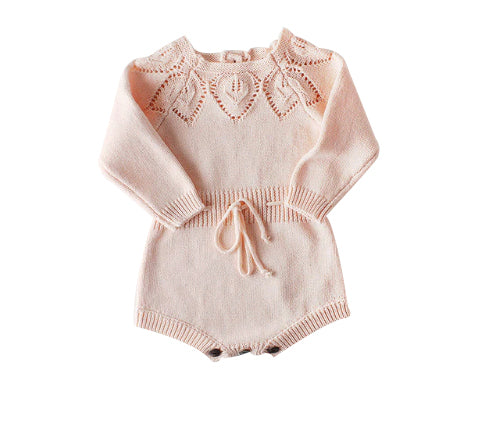 Woollen Crochet Playsuit - Pink