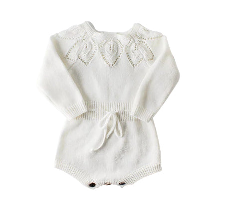 Woollen Crochet Playsuit - White