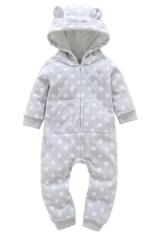 Grey Polka Dots Bear Suit
