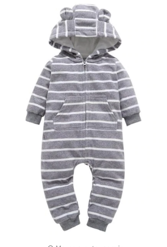 Grey Stripes Bear Suit