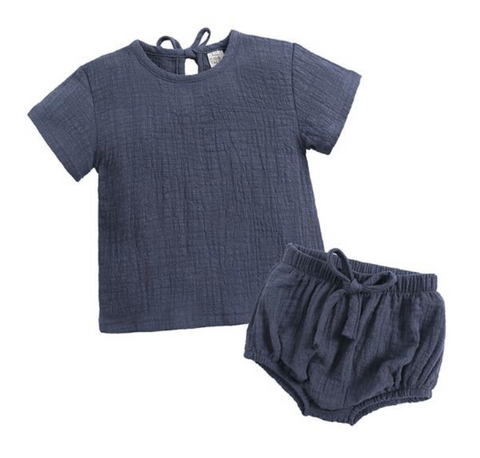 Linen Cotton 2 piece set - Navy