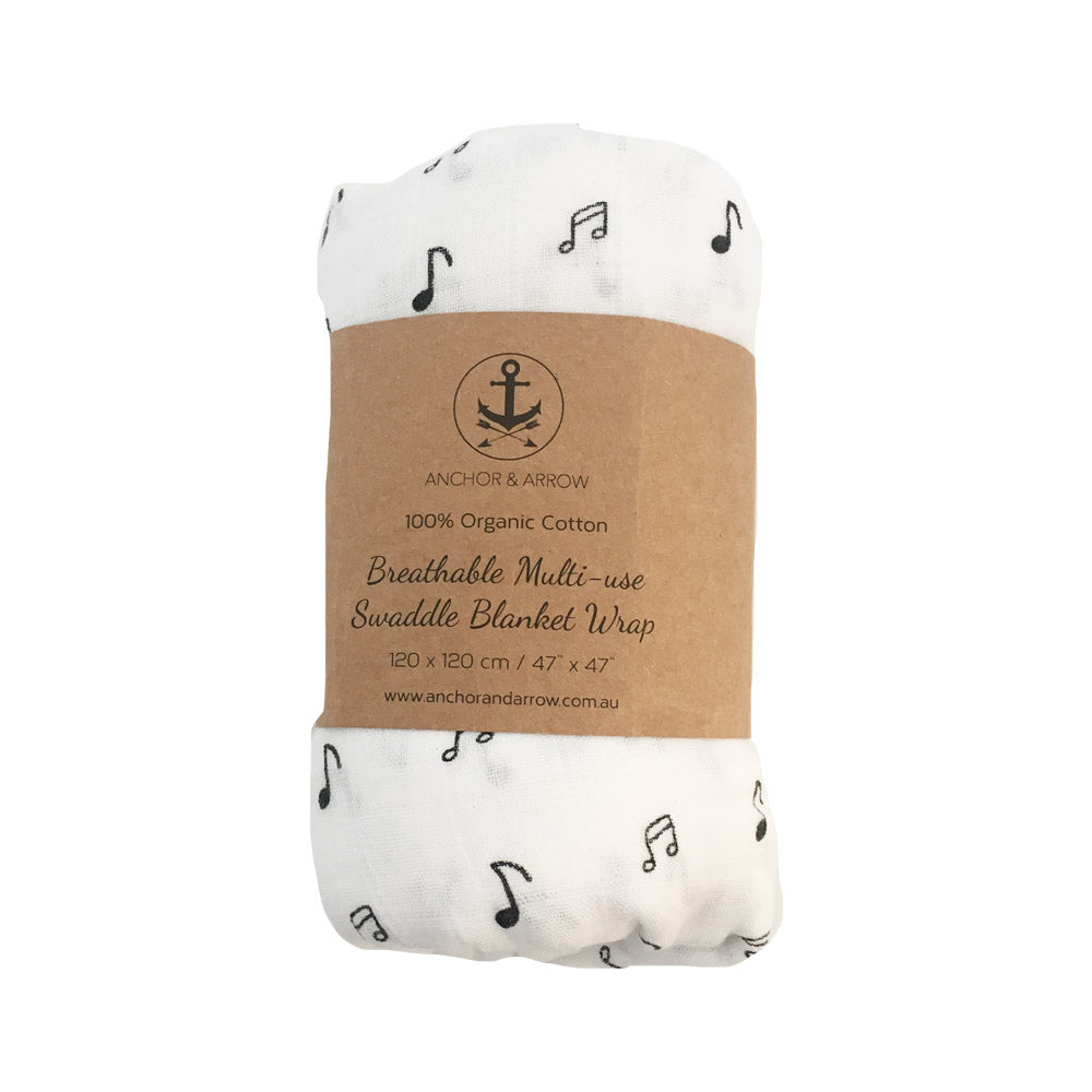 Music Notes Organic Cotton baby wrap/ swaddle