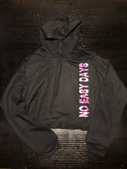 Women's Cropped Hoodie - Black - No Easy Days Apparel