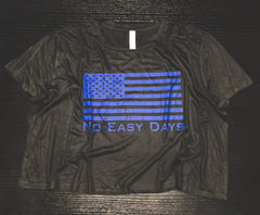 Women's Cropped Flag T - No Easy Days Apparel