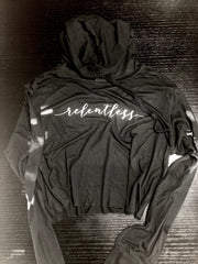 Women's Relentless Cropped TShirt Hoodie - No Easy Days Apparel