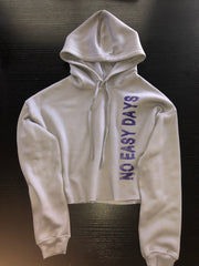 Women's Cropped Hoodie - Storm Gray - No Easy Days Apparel