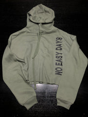 Women's Cropped Hoodie - Military Green - No Easy Days Apparel