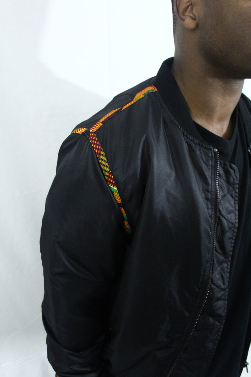 Kente Lined bomber jacket