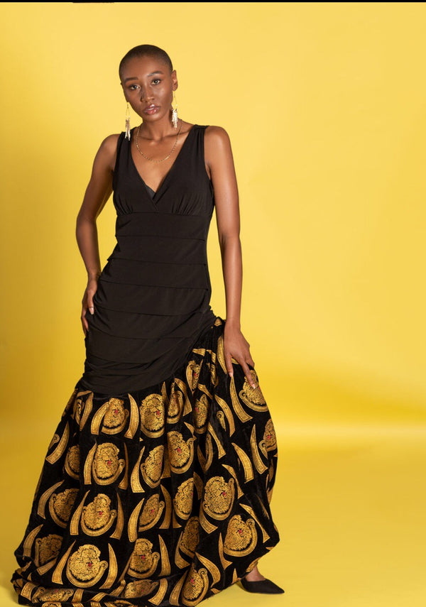 Isiagu black Velvet Pleated mermaid Dress