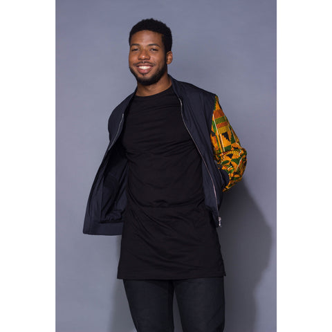Male Kente Unsleeved Bomber Jacket - Uhuru Designz