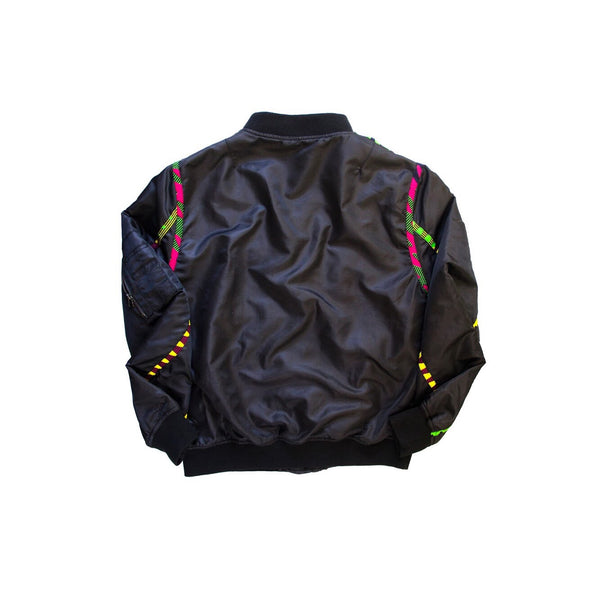 Multicolor fabric lined bomber jacket