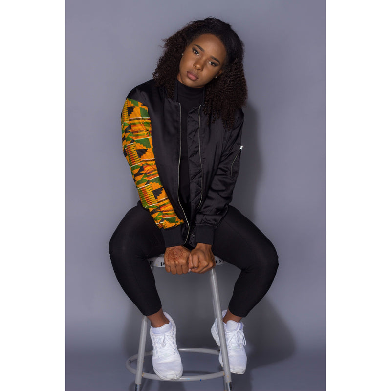 Female Kente Unsleeved  Bomber Jacket - Uhuru Designz