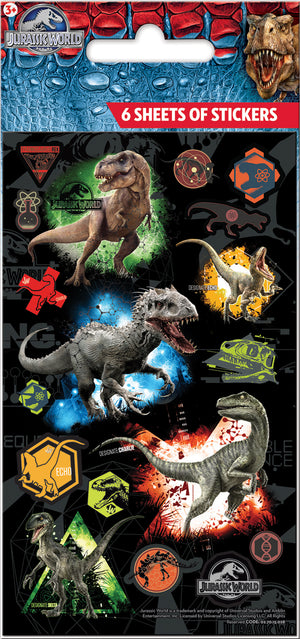 Jurassic World Stickers Party Bag Pack  (6 sheets)