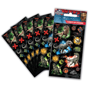 Jurassic World Stickers x 12 Party Bag Packs  (72 sheets)