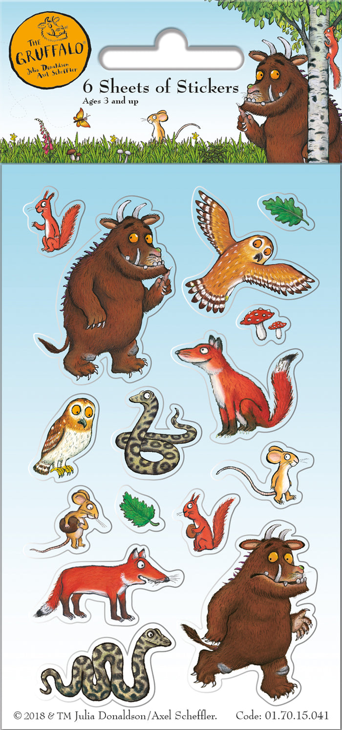 The Gruffalo Party Pack 6 Sheets Of Stickers