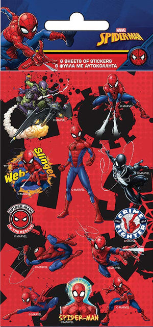 Spider Man Party Pack 6 Sheets Of Stickers