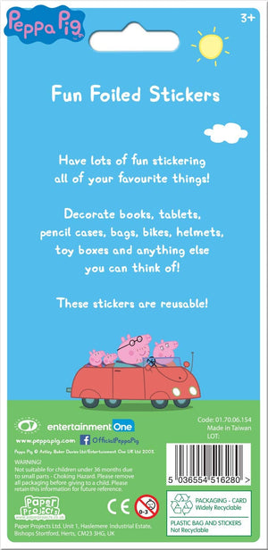 Peppa and George Pig Green Sparkly Reusable Stickers