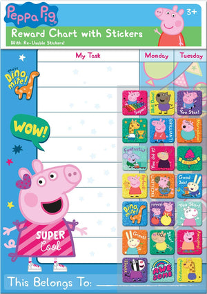 Peppa Pig Reward Chart With 56 Everyday Reusable Reward Stickers