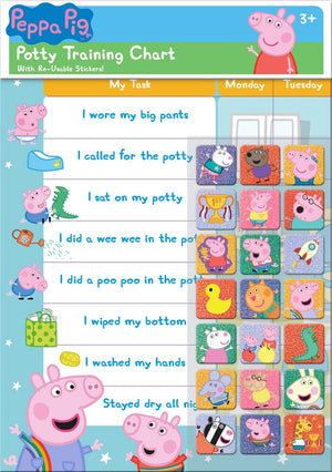 Peppa Pig Potty Training And Reward Chart With 56 Reusable Reward Stickers