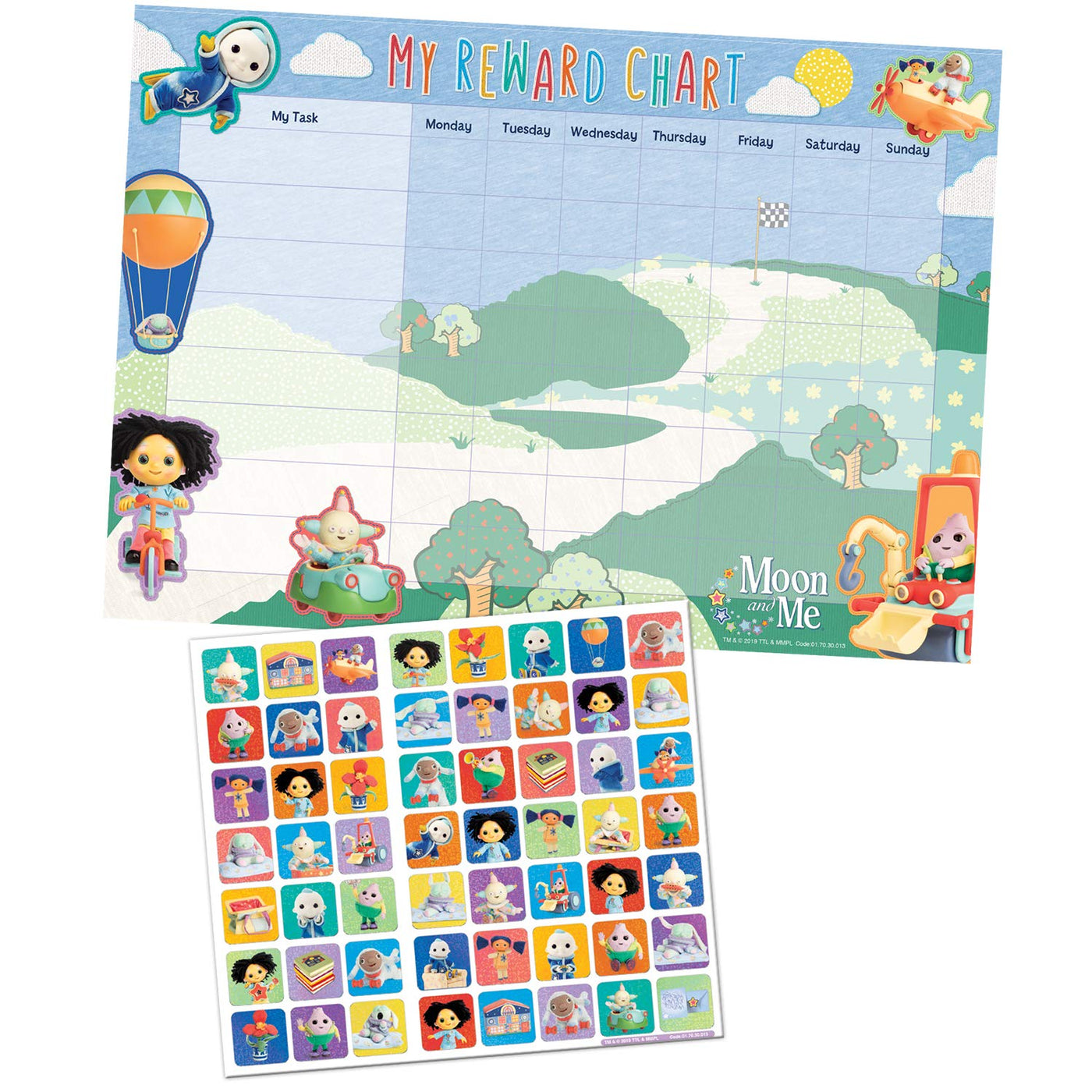 Moon And Me Reward Chart With 56 Reusable Reward Stickers G I T D Toys