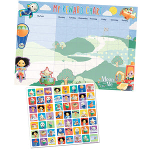 Moon And Me Reward Chart With 56 Reusable Reward Stickers