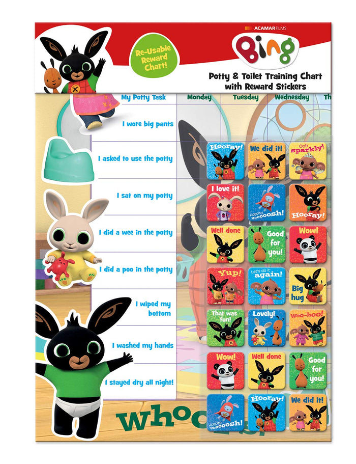 Bing Potty Training And Reward Chart With 56 Reusable Reward Stickers