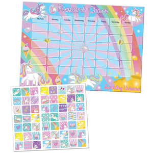 Sparkling Unicorn Reward Chart With 56 Reusable Reward Stickers