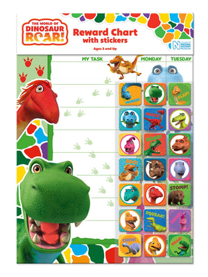Dinosaur Roar Reward Chart With 56 Reusable Reward Stickers