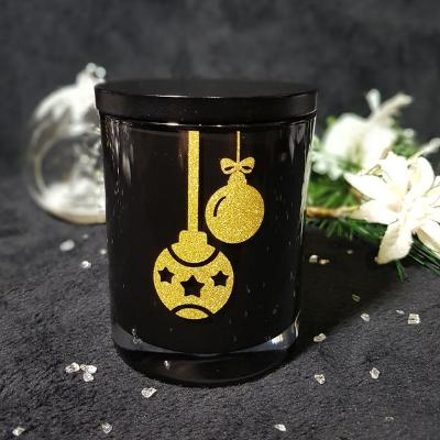 Amber Grove  - Christmas Baubles Soy Wax Candle (Black)