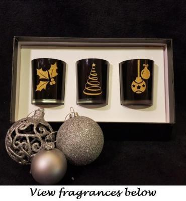 Amber Grove - Soy Wax Candles - Christmas Gift Box (Black)