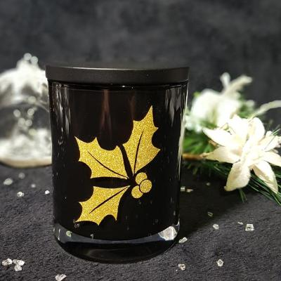 Amber Grove - Christmas Holly - Soy Wax Candle (Black) -