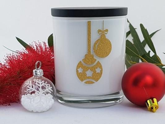 Amber Grove - Christmas Baubles - Soy Wax Candle (White)