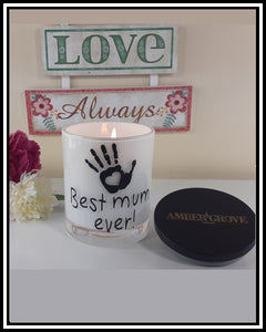 Amber Grove - Scented Soy Wax Candles - Best Mum Ever with Hand Print