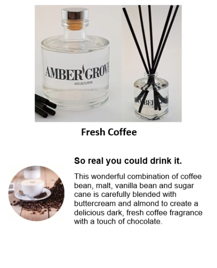 Reed Diffuser - Fresh Coffee Fragrance - Amber Grove