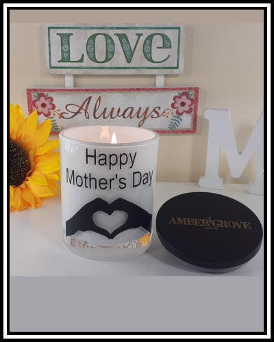 Amber Grove - Scented Soy Wax Candles - Happy Mother's Day w/Heart