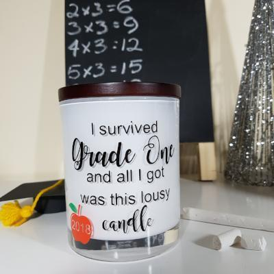 Teacher Gift Candle - [Personalised] I survived grade ... - Soy wax candle - Amber Grove