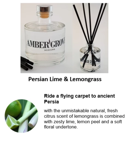 Reed Diffuser - Persian Lime and Lemongrass Fragrance - Amber Grove
