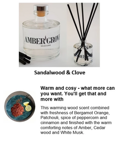 Reed Diffuser - Sandalwood and Clove Fragrance - Amber Grove