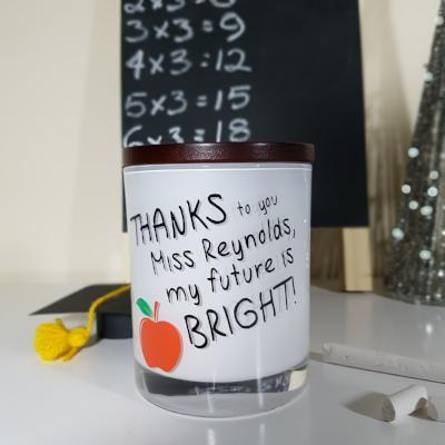 Teacher Gift Candle - [Personalised] Thanks to you - Soy wax candle - Amber Grove
