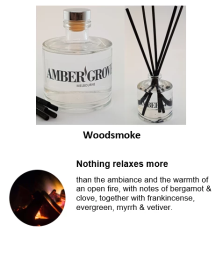 Reed Diffuser - Woodsmoke Fragrance - Amber Grove